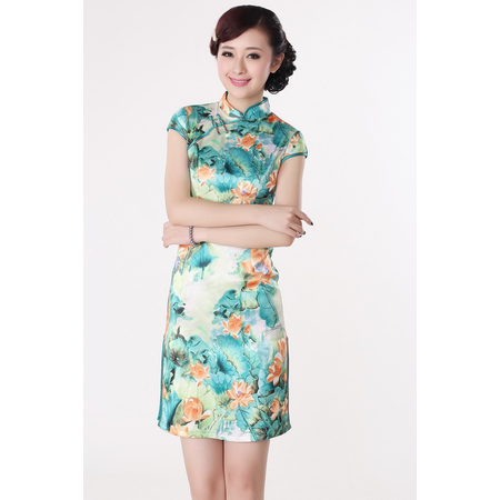 Robe Asiatique Motif Grand Fleur Bonheur