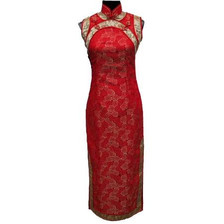 Robe Asiatique en Soie Rouge Sans Manche Sexy