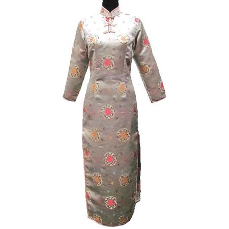 Robe Longue Manche Longue Dore Motif Asiatique