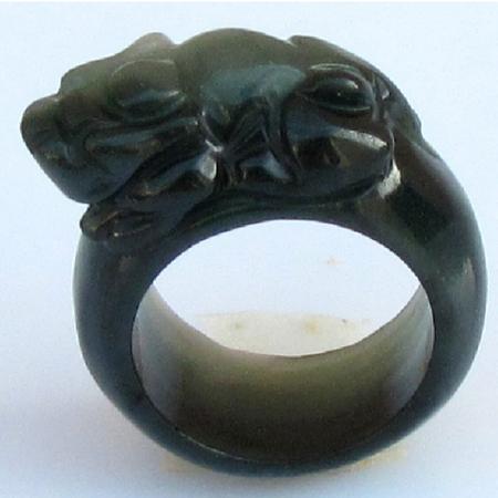 Bague Jade Asiatique Vert Fonce Motif