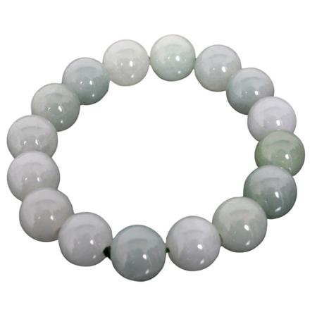 Bracelet Jade Perle Blanc Porte Bonheur