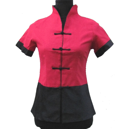 Chemisier Lin Asiatique Rouge