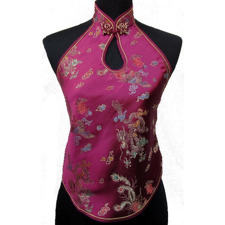 Dos Nu Asiatique Femme Motif Rouge Bordeaux