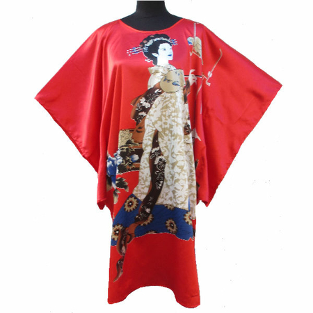Kimono Asiatique Robe Courte Rouge