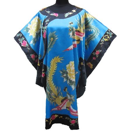 Kimono Asiatique Robe Turquoise Motif Bonheur