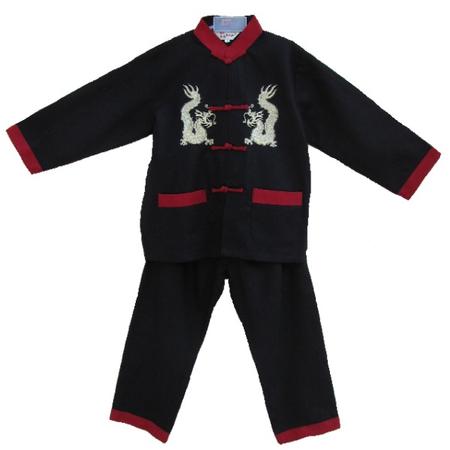 Pyjama Asiatique Enfant Lin Motif Dragon