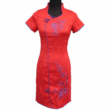 Robe Asiatique Courte Coton