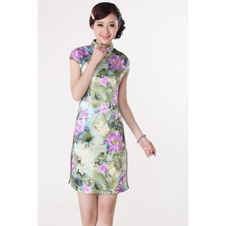 Robe Asiatique Courte Lotus Fleur