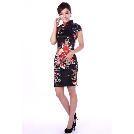 Robe Asiatique Courte Noire Fleur Rouge