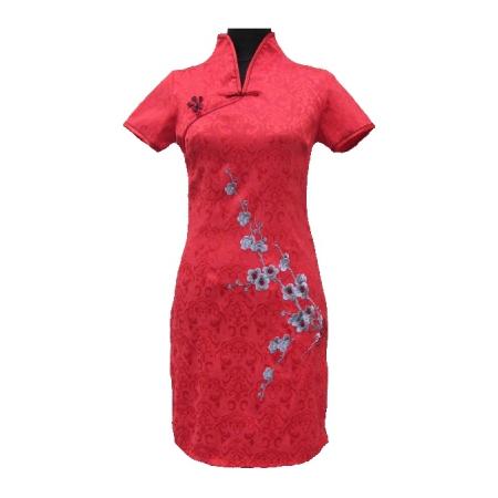 Robe Asiatique Noir Courte Coton