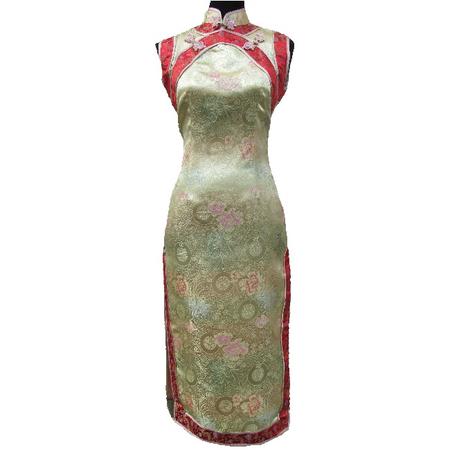 Robe Asiatique Longue Dore Sans Manche