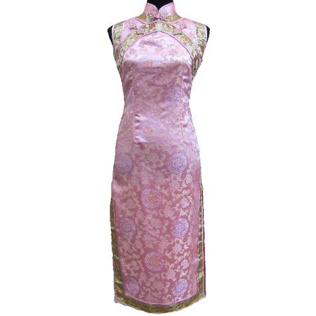 Robe Asiatique Longue Rose