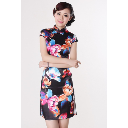Robe Asiatique Motif Fleur Noire Paris