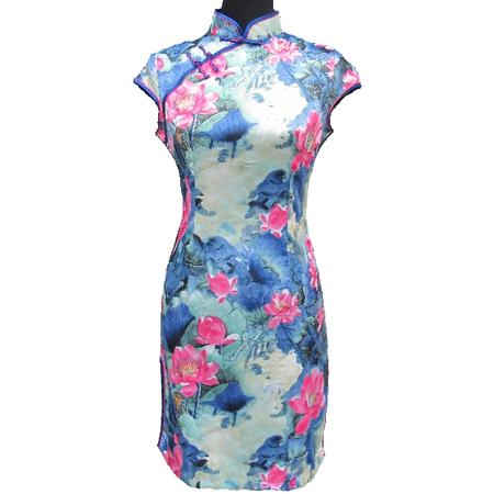 Robe Asiatique Motif Lotus Bonheur Boutique