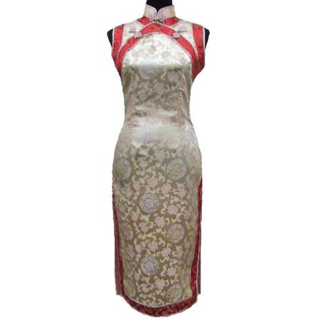 Robe Asiatique Soie Dore