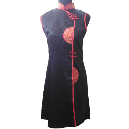 Robe Noir Motif Hotesse Asiatique
